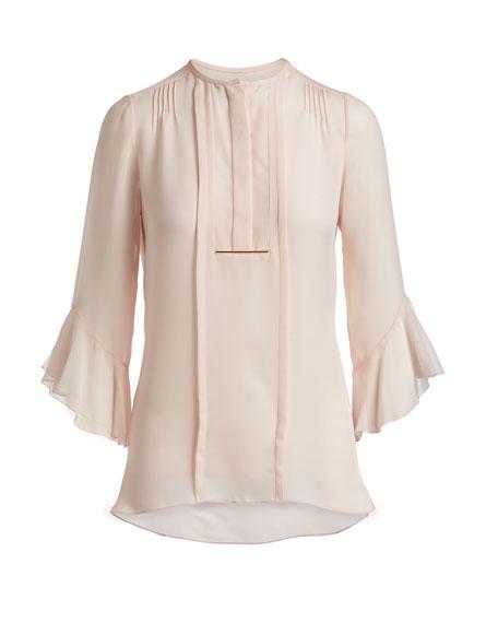 Maven Silk Flutter-Sleeve Blouse