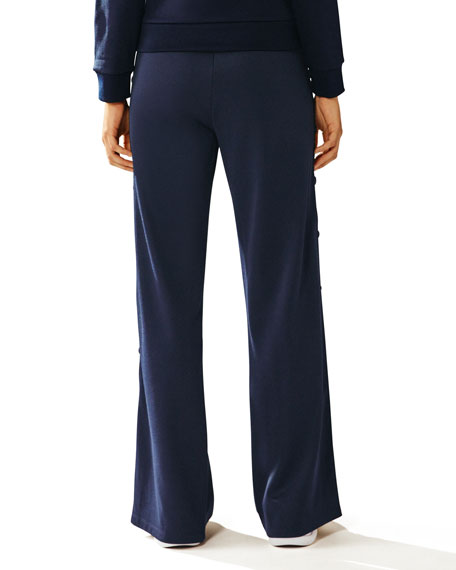Banner Wide-Leg Tear-Away Track Pants