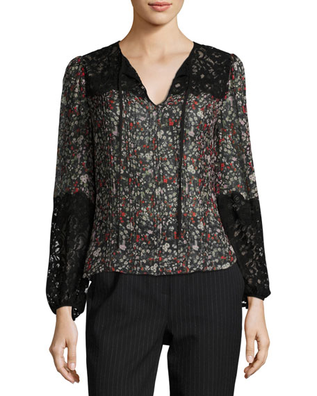Rebecca Taylor Long-Sleeve Floral-Print Top w/ Lace Inserts