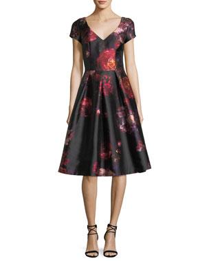 278e4b2dc4 David Meister Short-Sleeve Floral-Brocade Cocktail Dress w  Jeweled  Embellishments