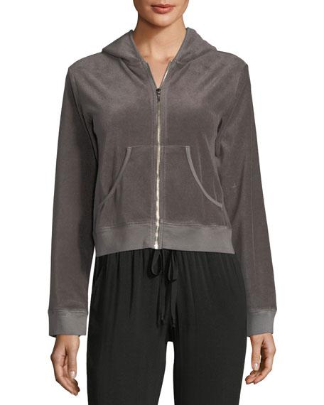 Velour Zip-Front Hooded Jacket