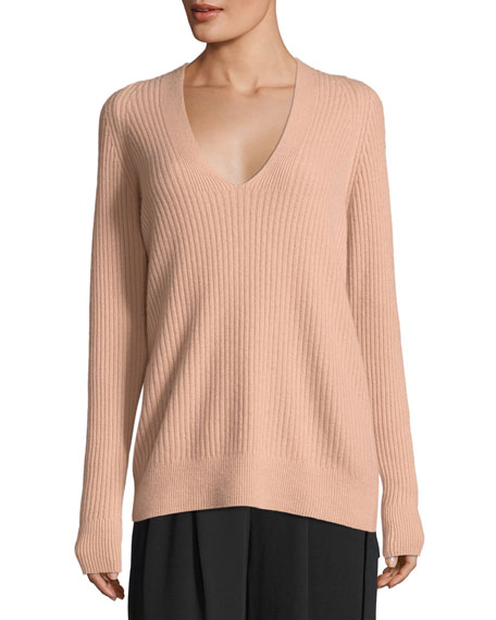 Vince Raglan Ribbed Deep V-Neck Wool-Cashmere Sweater