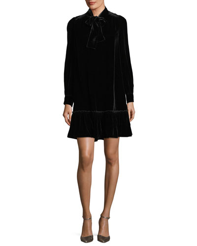 long-sleeve velvet tie-front swing dress