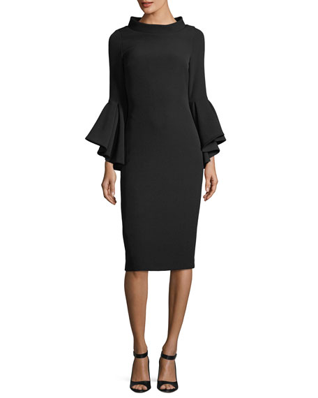 Badgley Mischka Funnel-Collar Bell-Sleeve Sheath Crepe Cocktail