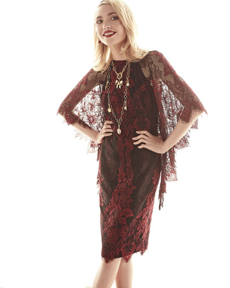 Badgley Mischka Collection High-Neck Lace Flutter-Sleeve Sheath Dress