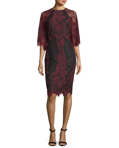 High-Neck Lace Flutter-Sleeve Sheath Dress