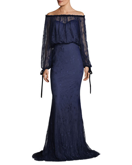 Off-the-Shoulder Blouson-Top Lace Evening Gown