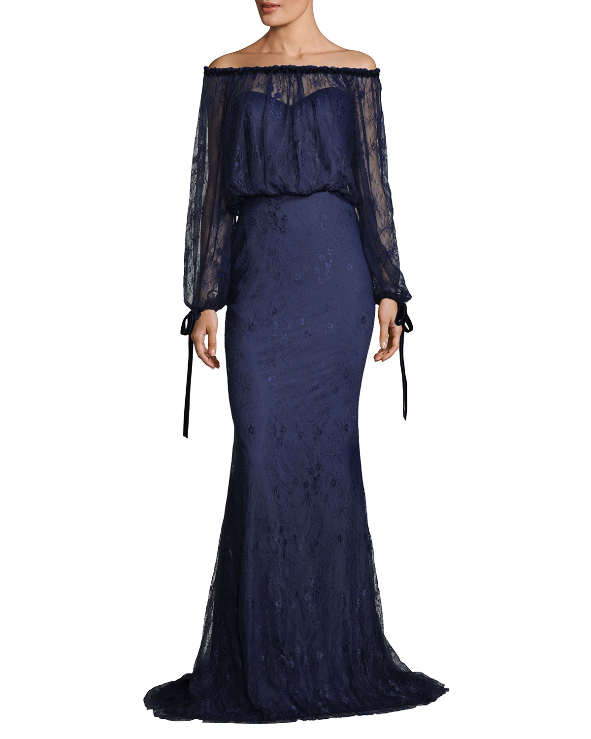 Badgley Mischka Off The Shoulder Blouson Top Lace Evening Gown