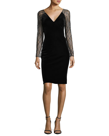 Badgley Mischka Beaded-Lace Sleeve Velvet Cocktail Dress