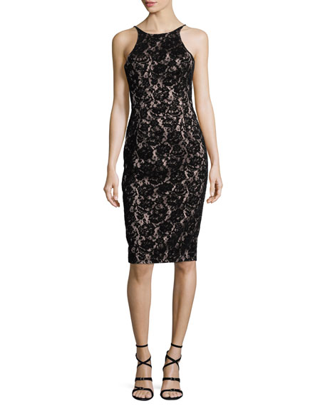 Black Halo Montego Velvet Lace Sheath Dress
