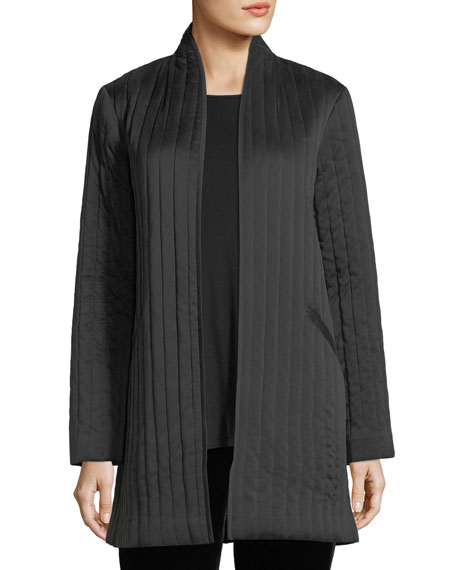 Eileen Fisher Sandwashed Silk Charmeuse Long Jacket