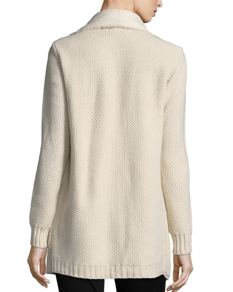Faux-Shearling Drape-Front Jacket