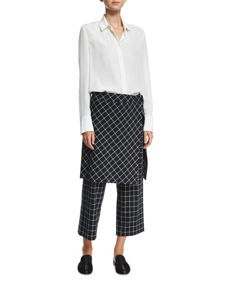 Grid-Print Straight-Leg Ankle Skirted Pants