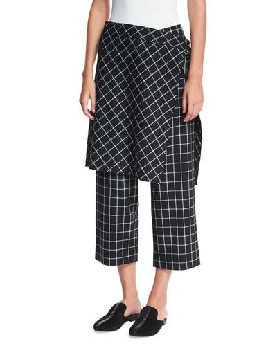 Grid-Print Straight-Leg Ankle Skirted Pants