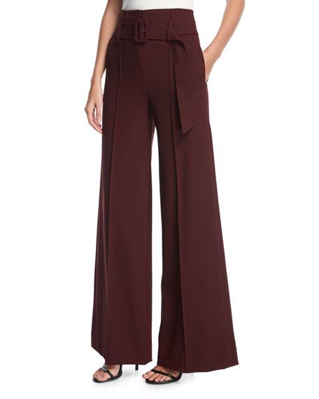 Theory High-Waist Belted Wide-Leg Pants