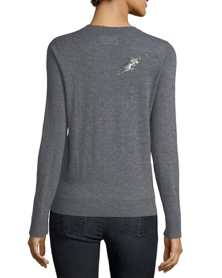 Miss Ter Crewneck Cashmere Sweater w/ Beaded Embellishment