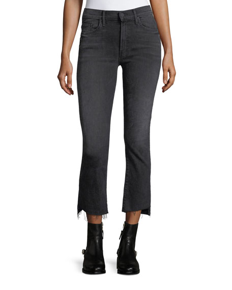 Mother Denim Insider Crop Step-Fray Denim Jeans w/