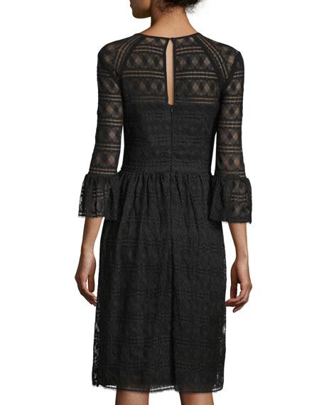 Lattice Lace Midi Dress w/ Trumpet Sleeves