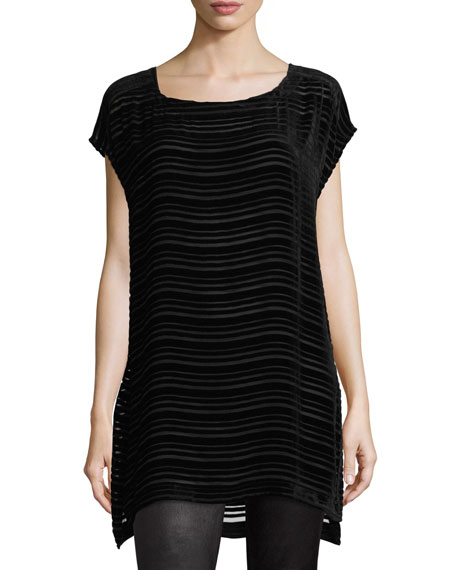 Eileen Fisher Cap-Sleeve Sheer Burnout Velvet Tunic, Plus