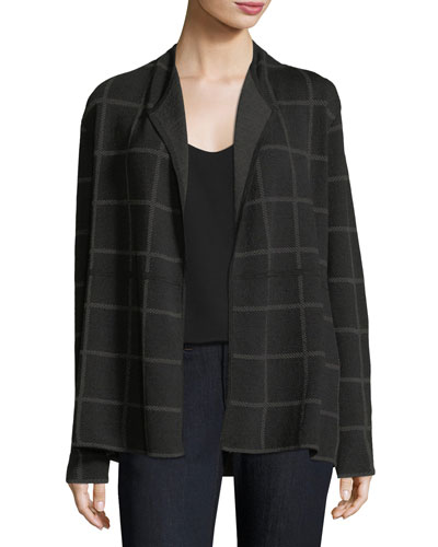 Fine Windowpane Crepe Open Cardigan