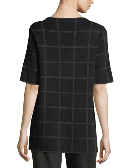 Short-Sleeve Fine Windowpane Crepe Tunic