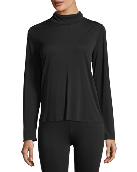 Eileen Fisher Silk Jersey Scrunch-Neck Top