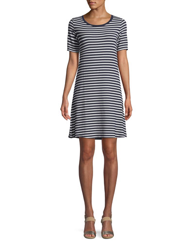 Striped Short-Sleeve Jersey Shift Dress
