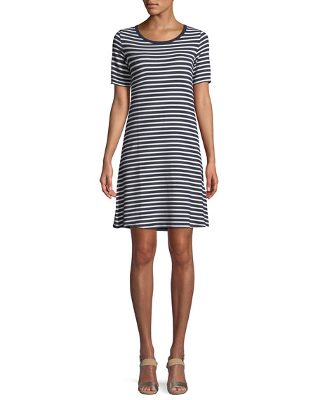 Striped Short-Sleeve Jersey Shift Dress