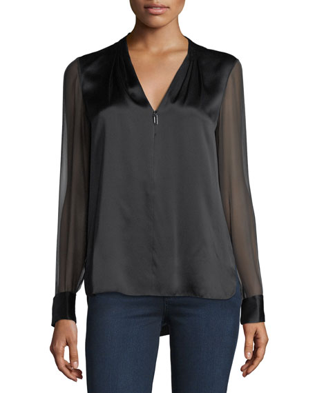 Anella V-Neck Silk Blouse