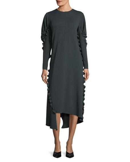 Crepe Knit Midi Dress w/ Ruffled Trim