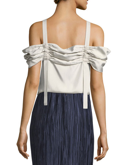Mendini Satin Twill Cold-Shoulder Top