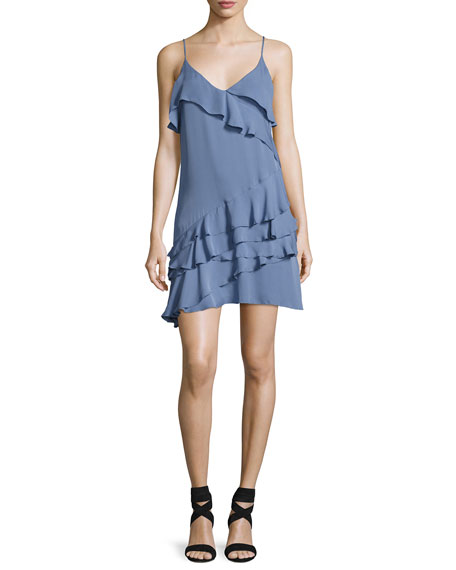 Parker Athens Silk Tiered Ruffled Mini Dress