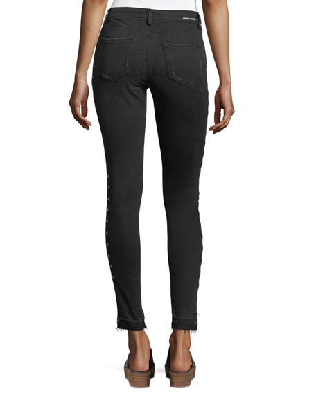 Kika Mid-Rise Skinny Ankle Jeans w/ Grommets