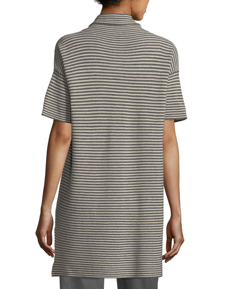 Short-Sleeve Striped Merino Tunic
