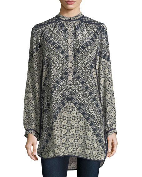 Tolani Natasha Long-Sleeve Geometric-Print Tunic