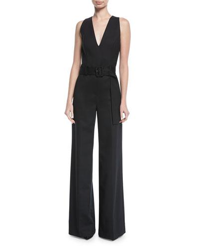 Belted V-Neck Wide-Leg Wool-Blend Jumpsuit