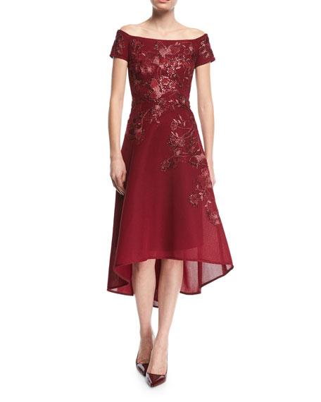 Off-the-Shoulder Beaded Mesh Dress
