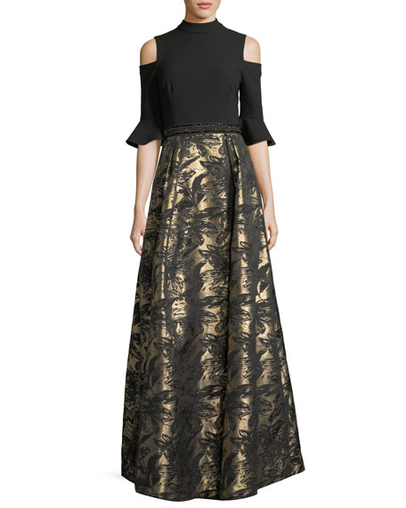 Rickie Freeman for Teri Jon Cold-Shoulder Top Jacquard