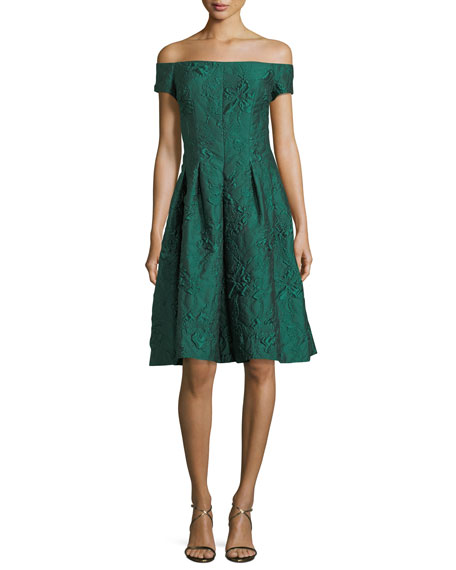 Rickie freeman for teri jon off the shoulder cloqu for Neiman marcus dresses for wedding guest