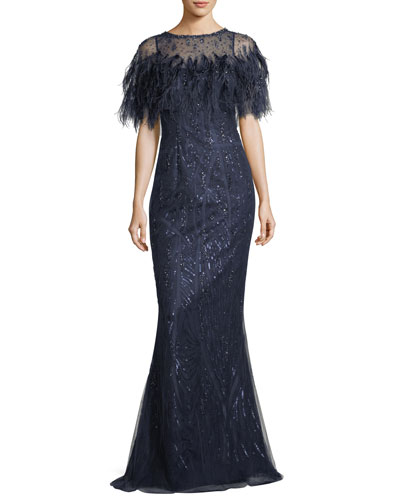 Feathered Caplet Embellished Trumpet Evening Gown