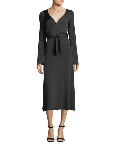 Lourdes Wrap-Front Long-Sleeve Jersey Cocktail Dress