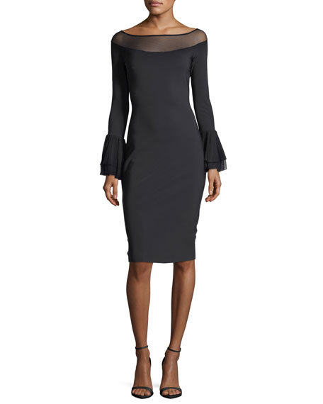 Giuly Illusion Long-Sleeve Sheath Cocktail Dress