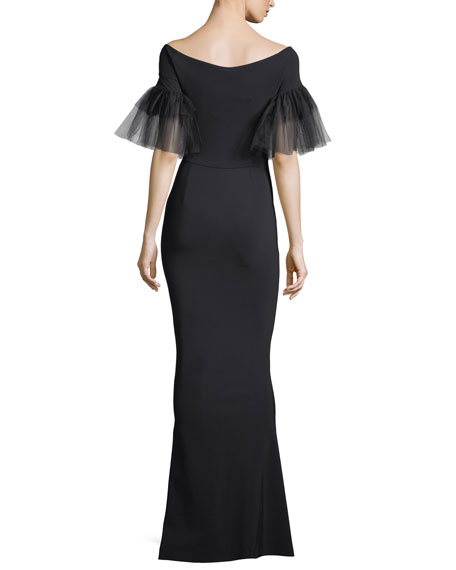 Risa Illusion Tulle Flutter-Sleeve Mermaid Gown