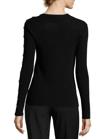 Crewneck Long-Sleeve Fitted Sweater w/ Button Trim