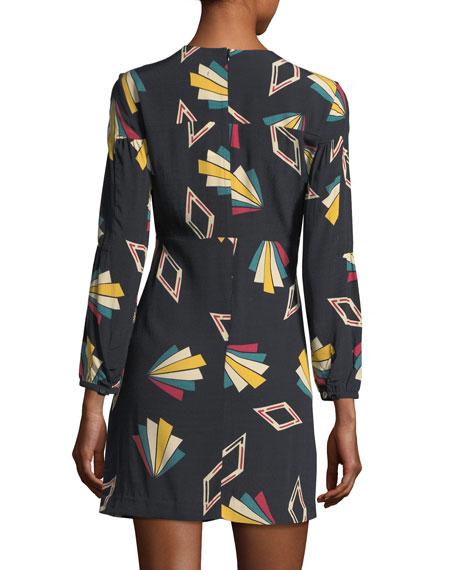 Crewneck Long-Sleeve Printed Mini Dress