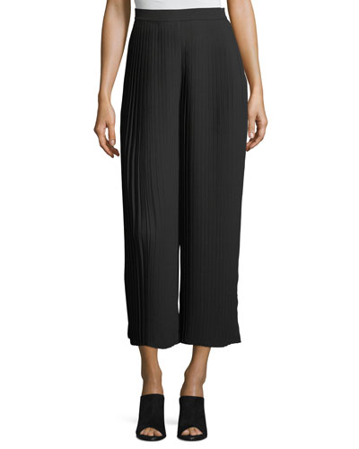 Knife-Pleated Wide-Leg Ankle Pants