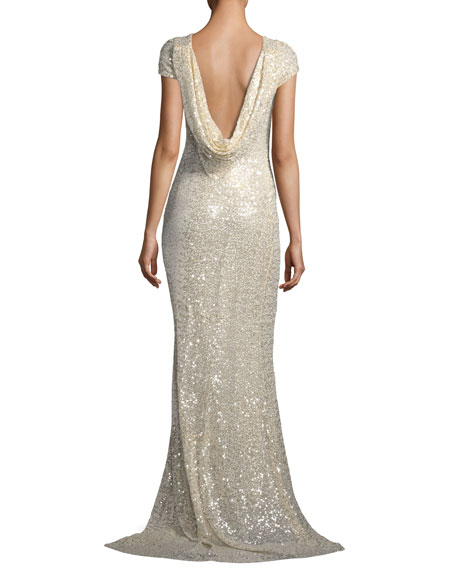Short-Sleeve Sequin Cowl-Back Evening Gown