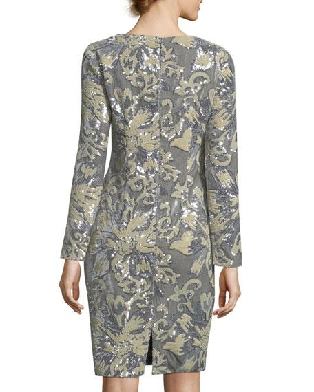 Embellished Sequin Long-Sleeve Cocktail Sheath Dress