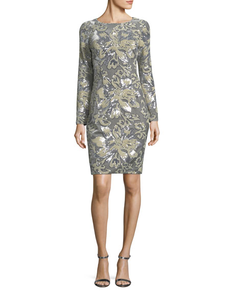 Badgley Mischka  EMBELLISHED SEQUIN LONG-SLEEVE COCKTAIL SHEATH DRESS