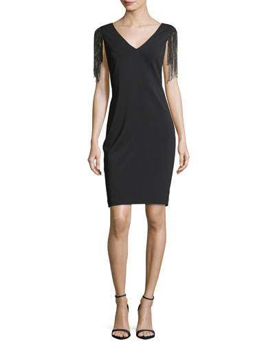 Deep-V Beaded Sleeves Sheath Cocktail Dress